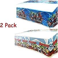 """MIANRUII Paquete de 2 Cubiertas de Mesa de superhéroes de plástico, AV Party Mantel de plástico 42 """"X 70"""" Decoraciones…"""