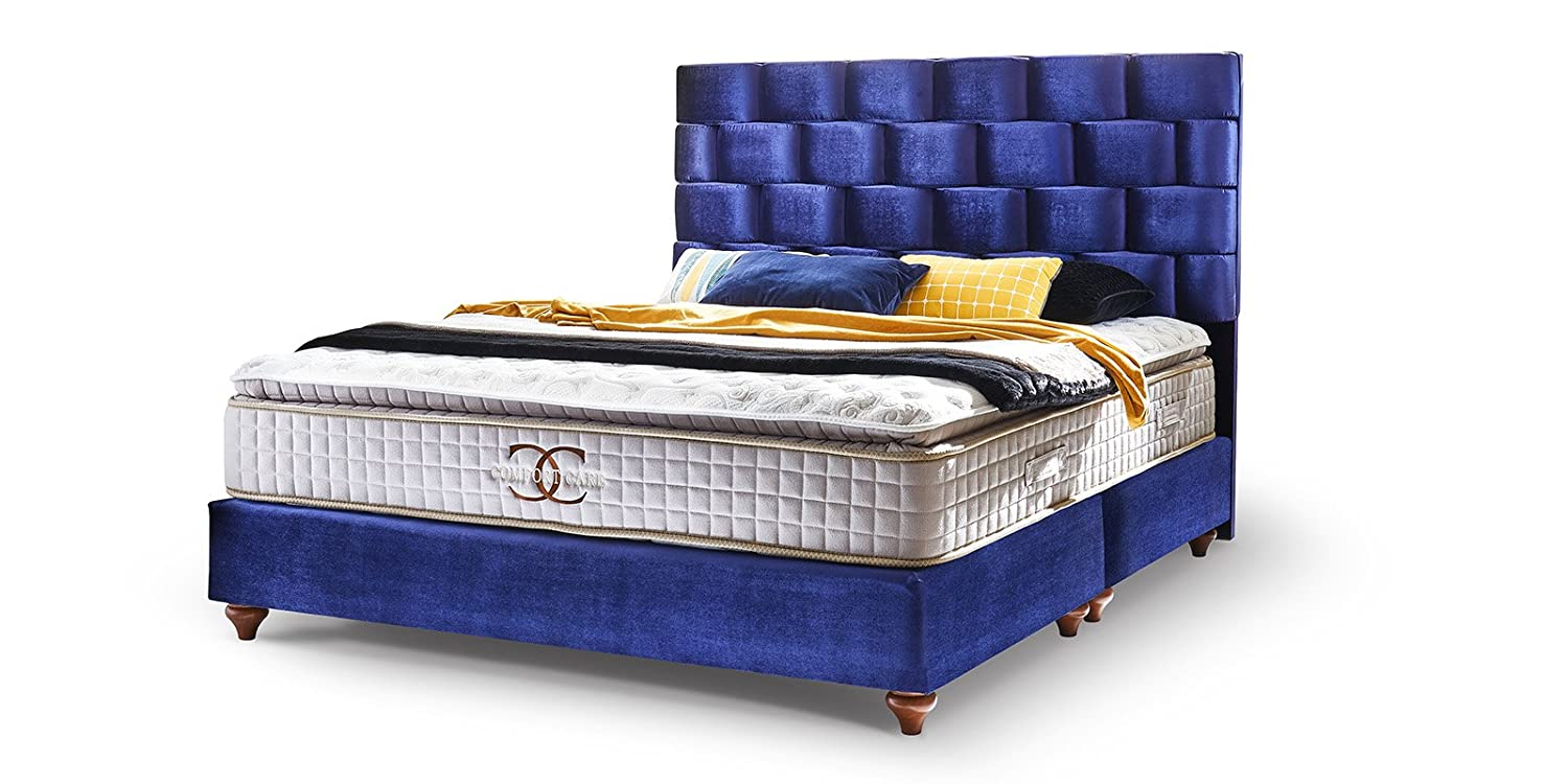 boxspringbett 180x200 royalblau z rich hotelbett doppelbett matratze topper modern luxus bett. Black Bedroom Furniture Sets. Home Design Ideas