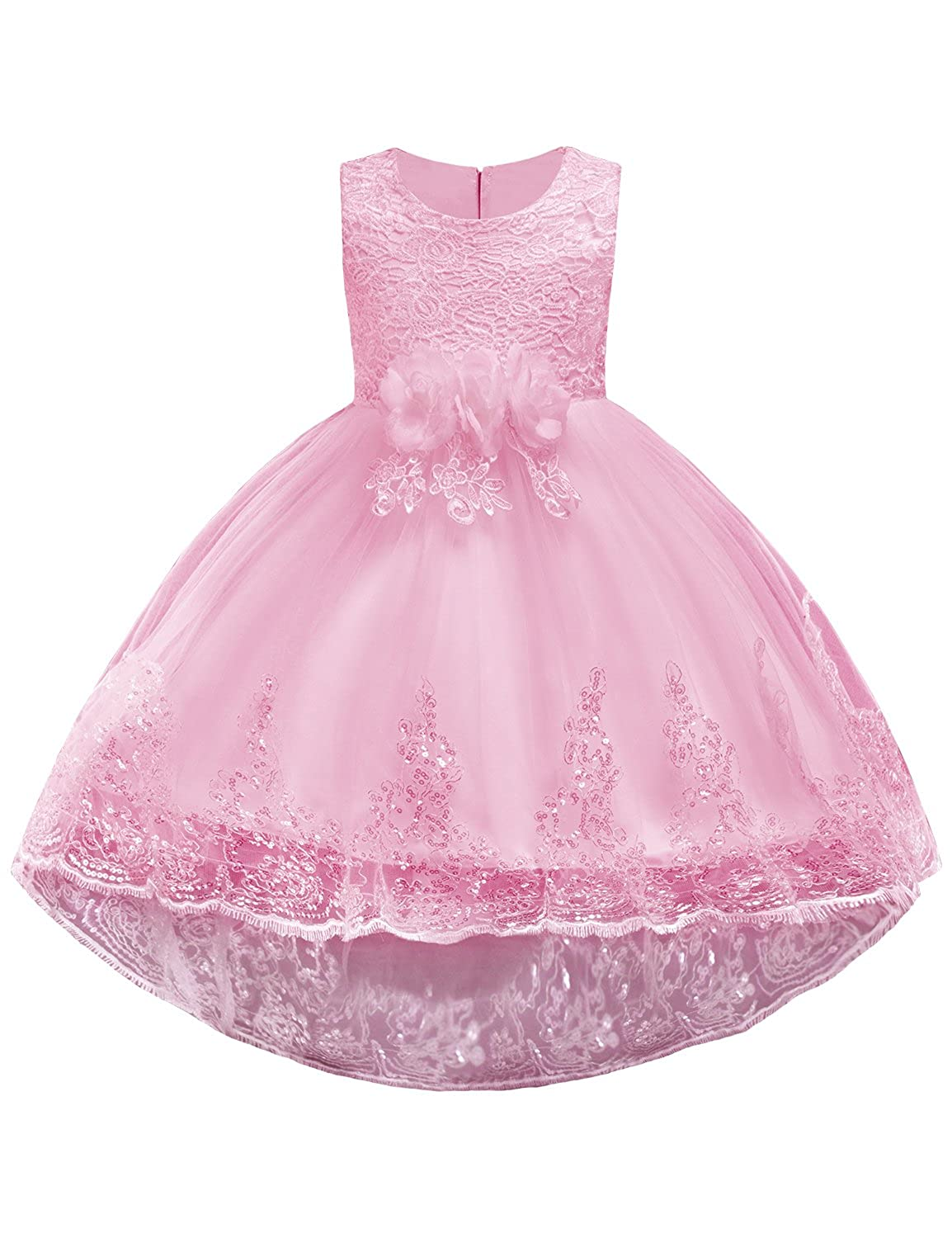 37b1a789e6338 Girls High Low Floral Printing Sleeveless Bowknot Party Dress, Children  Ruffles Prom Dresses, Ball Gown Dress, give your child a attractive looking.