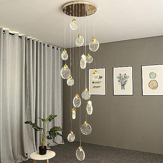 GRGR LED Escalera Colgante de Luz Lámpara de Salón Lámpara Colgante de Cristal Lámpara de Comedor Habitación de Hotel Lámpara de Cristal Altura Ajustable Villa Cafe Hall 16 Luces Se Puede Personalizar:
