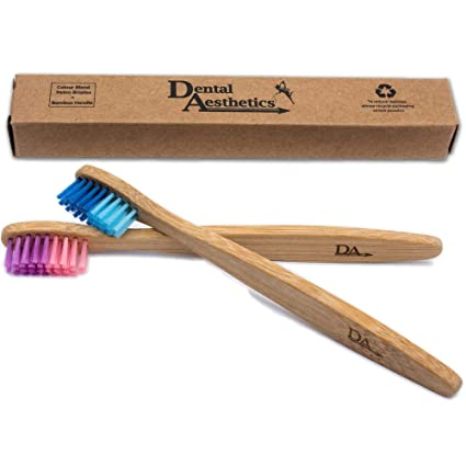 Cepillo Dental de Bambú para Niños ~ Degradado de Color Rosado & Azul ~ Ecológico Biodegradable