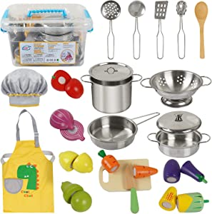 Sundaymot Pretend Cutting Wooden Fruit Vegetables Toy Set, Kids Kitchen Toys, Cooking Set with Stainless Steel Cookware Pots and Pans Utensils, Apron, Chef Hat, Cutting Play Food for Toddlers