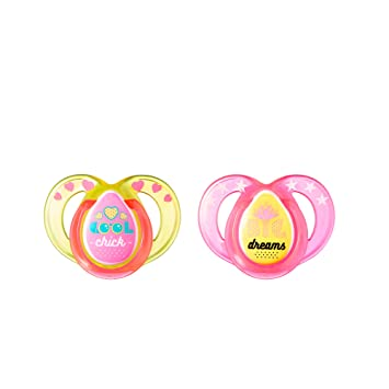 Tommee Tippee Closer To Nature Everyday Pacifier, Pink, 6-18 Months, 2 Count -Colors will vary
