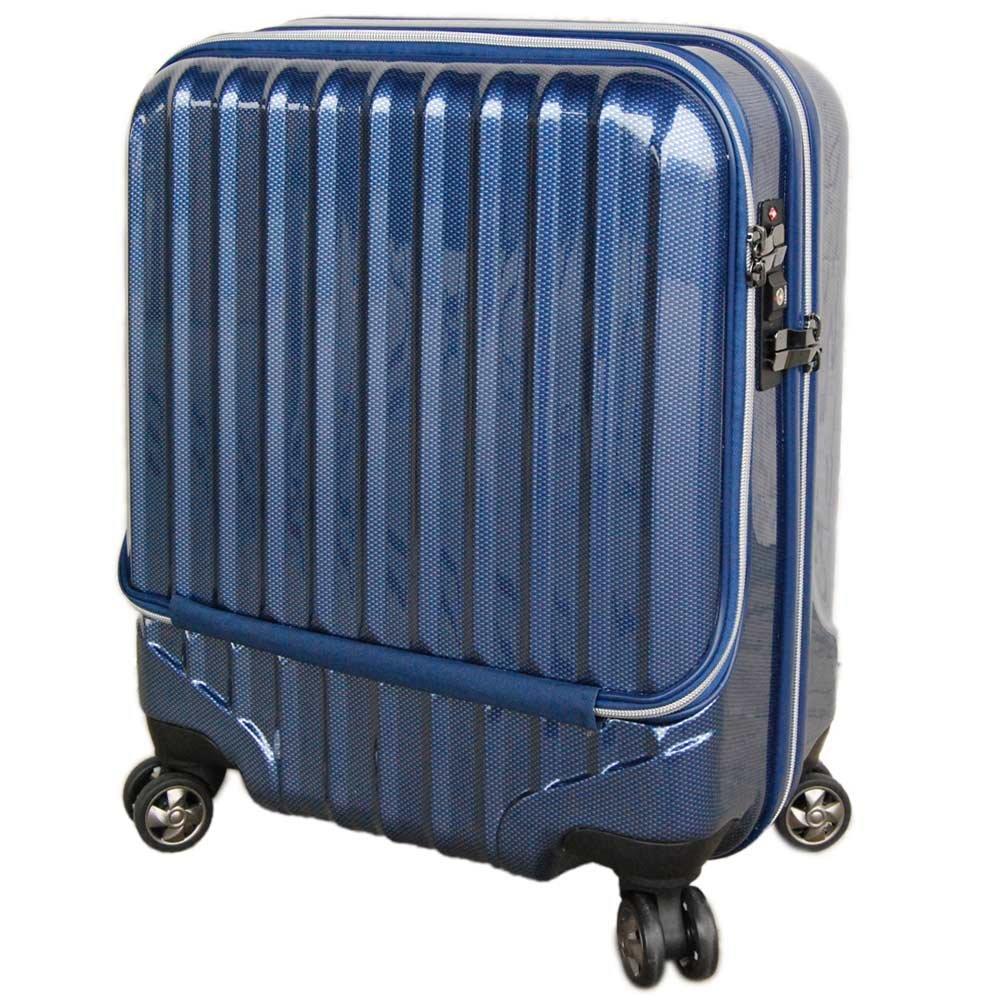 【JP design】OUTLET スーツケース 機内持込 MAX 40l 軽量 小型 フロントオープン ダブルファスナー 8輪 S 【W-Receipt】 キャリーケース キャリーバッグ 前ポケット B0728L312X  ネイビー Sダブルキャスター-37L