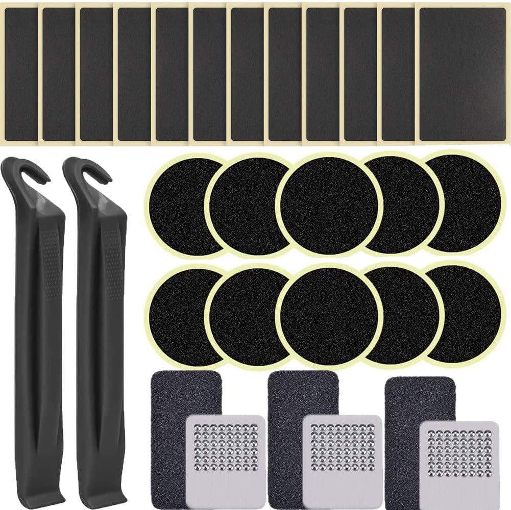 34 Pieces Bike Puncture Repair Patches Self Adhesive Bicycle Inner Tube Repair kit Include tire tie rods Metal Files tire Patches Sand Paper for Bicycle Tube Repair