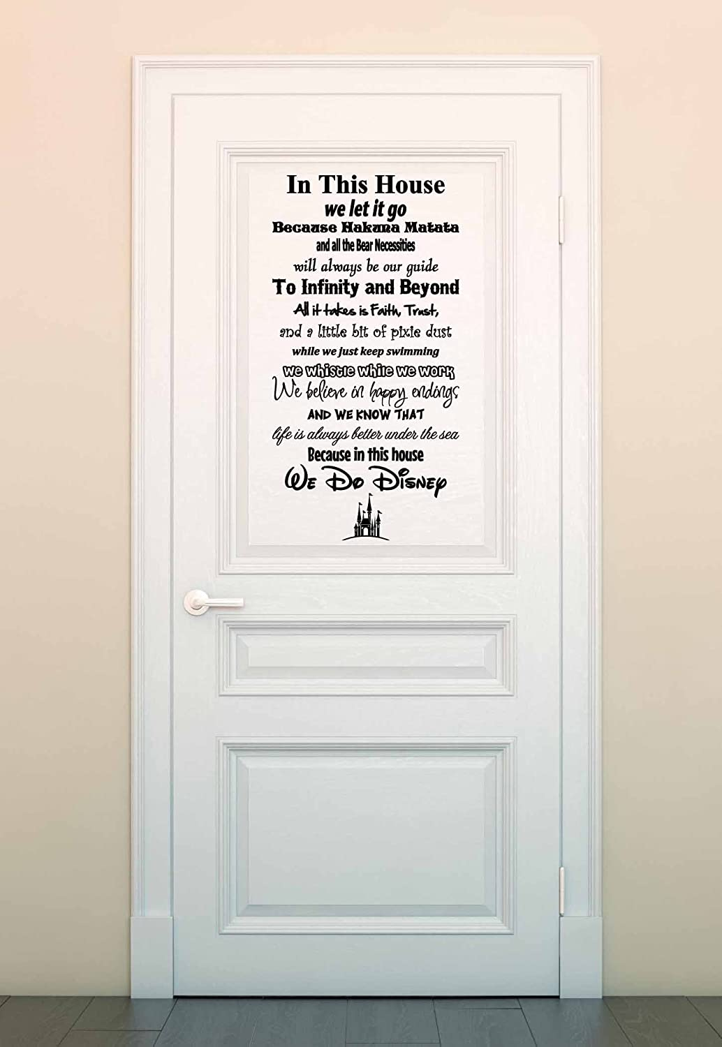 Amazon in this house we do disney vinyl wall decal sticker amazon in this house we do disney vinyl wall decal sticker made in usa disney family house rules 11 x 22 black home kitchen amipublicfo Choice Image