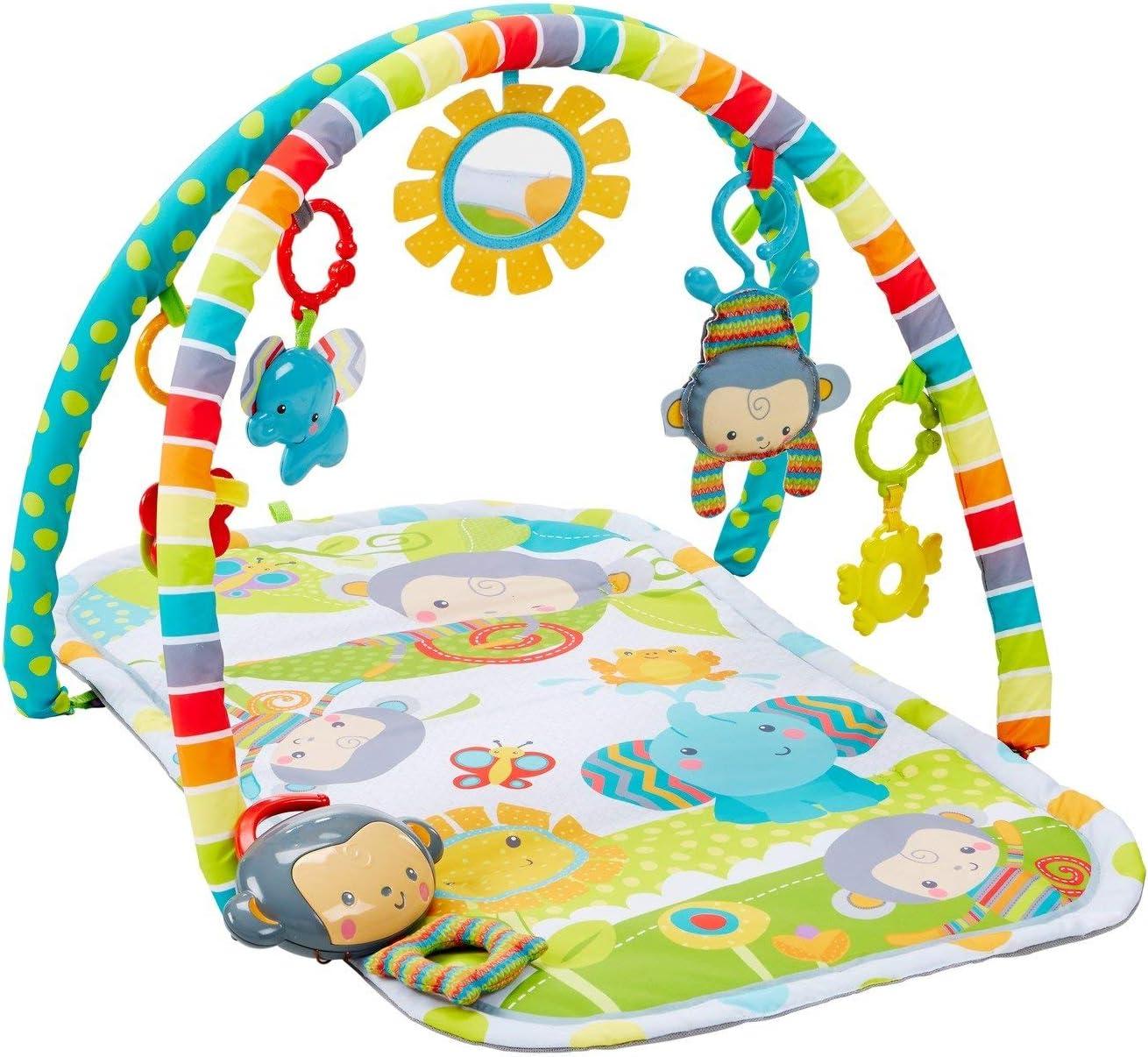 Fisher-Price Gimnasio Musical Monitos Divertidos, manta de juego para bebé (Mattel CLJ42)