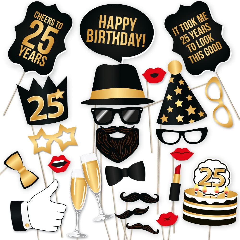 Amazon Com 25th Birthday Photo Booth Props Fabulous Forty Party Decoration Supplies For Him Her Funny Fortieth Bday Photobooth Backdrop Signs For Men And Women Photography Black And Gold Decor 34