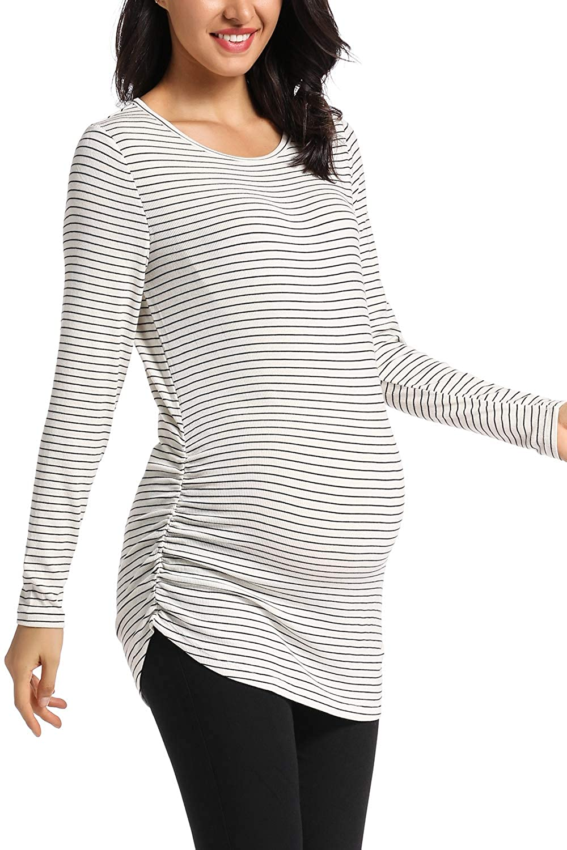 Damen Stillshirt Umstandsshirt Umstandstop Schwangerschaft Umstandsmode T-Shirt Langarm Streifen