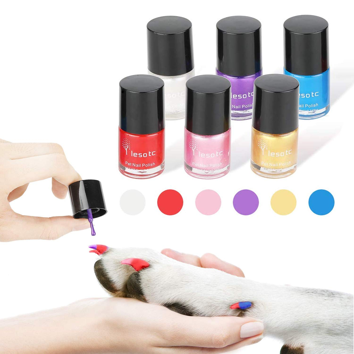 Dog Nail Polish Set, 6 Color Set (Pink, Purple, Red, Gold, Blue, Silver), Non-Toxic Water-Based Pet Nail Polish, Natural and Safe, Suitable for All Pet (Birds, Gerbils, Pigs and Mice), Easy to Remove