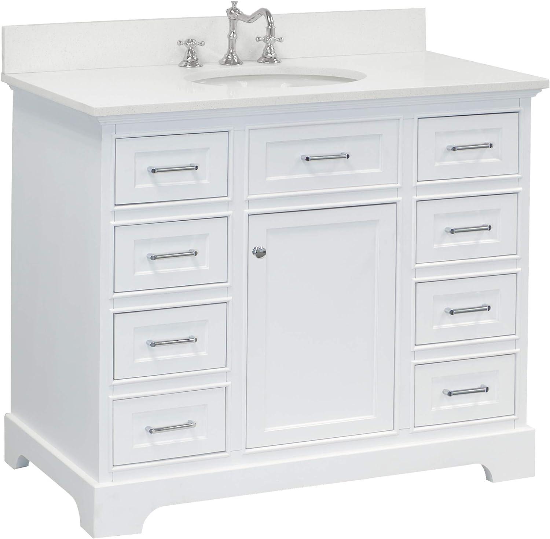 Amazon Com Aria 42 Inch Bathroom Vanity Quartz White Includes White Cabinet With Stunning Quartz Countertop And White Ceramic Sink Home Improvement