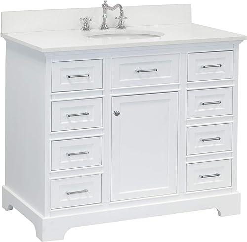 Aria 42-inch Bathroom Vanity Quartz/White : Includes White Cabinet