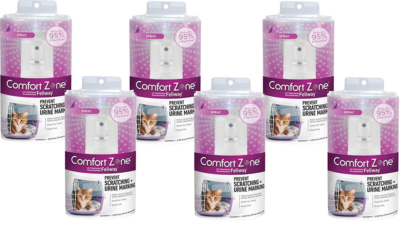 (6 Pack) Comfort Zone with Feliway for Cats Spray, 75 Milliliters