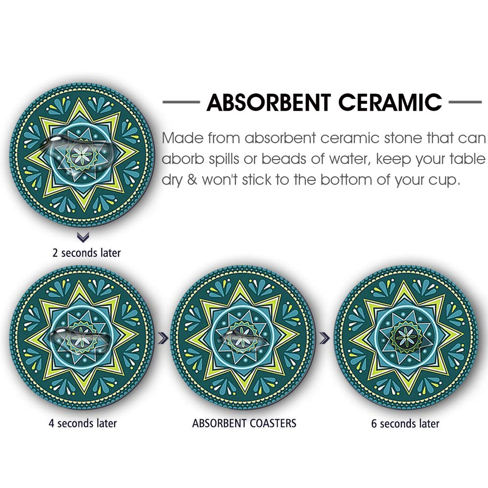 Decorative Coasters with Cork Base KingLeChange Coasters for Drinks Absorbent Drink Coasters Ceremic Stone 6-Piece Set Bigger Size Suitable for Kinds of Mugs and Cups