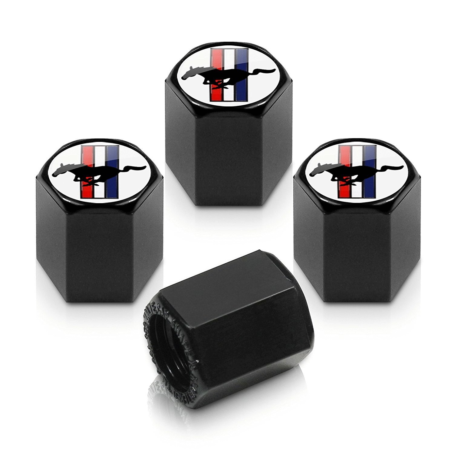 4pcs Ford Mustang Logo Black Tire Stem Valve Caps Accessories Car Products Compatible Fit For USA Auto Model Ford Mustang