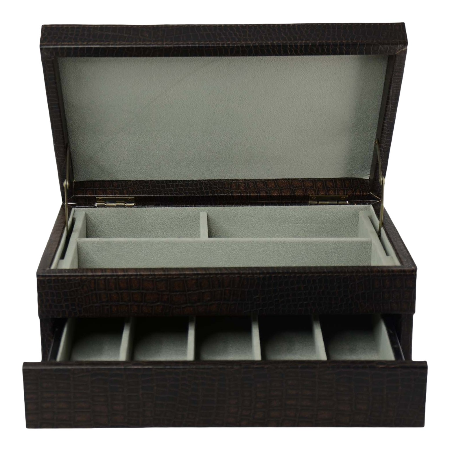 Top Quality Men's Black Leather Jewelry Box And Valet Storage Box Organizer by Bombay Brand (Image #1)