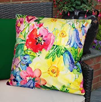 Colourful Waterproof Fibre Filled Outdoor Garden Cushions For Chairs And  Benches   Painterly Floral Part 52