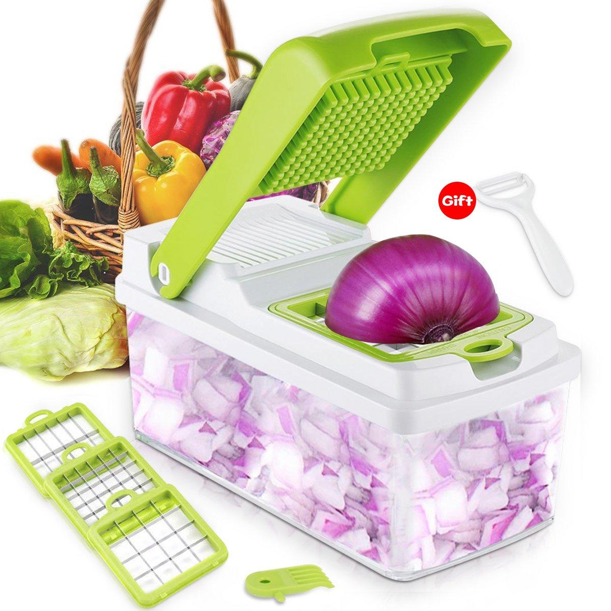 Vegetable Chopper Onion Slicer Grater Nicer Dicer Veggie Cutter Cuber with Food Container 3 Blades Set and Peeler for Fruit Salad