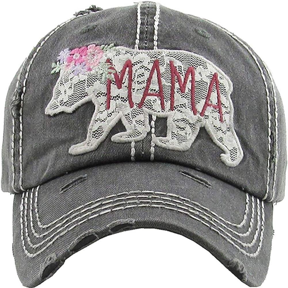 Women's Mama Bear Lace Washed Vintage Baseball Hat Cap