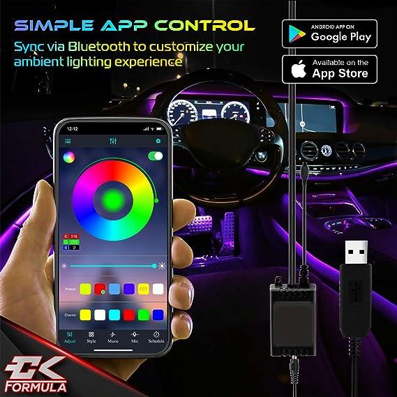 Waterproof IP68 Rating Bluetooth App Control LED Light Strips for Cars 16 Million RGB Colors Music Sync Under Lighting Dashboard 12V DC USB 4pcs CK Formula Interior Car Lights