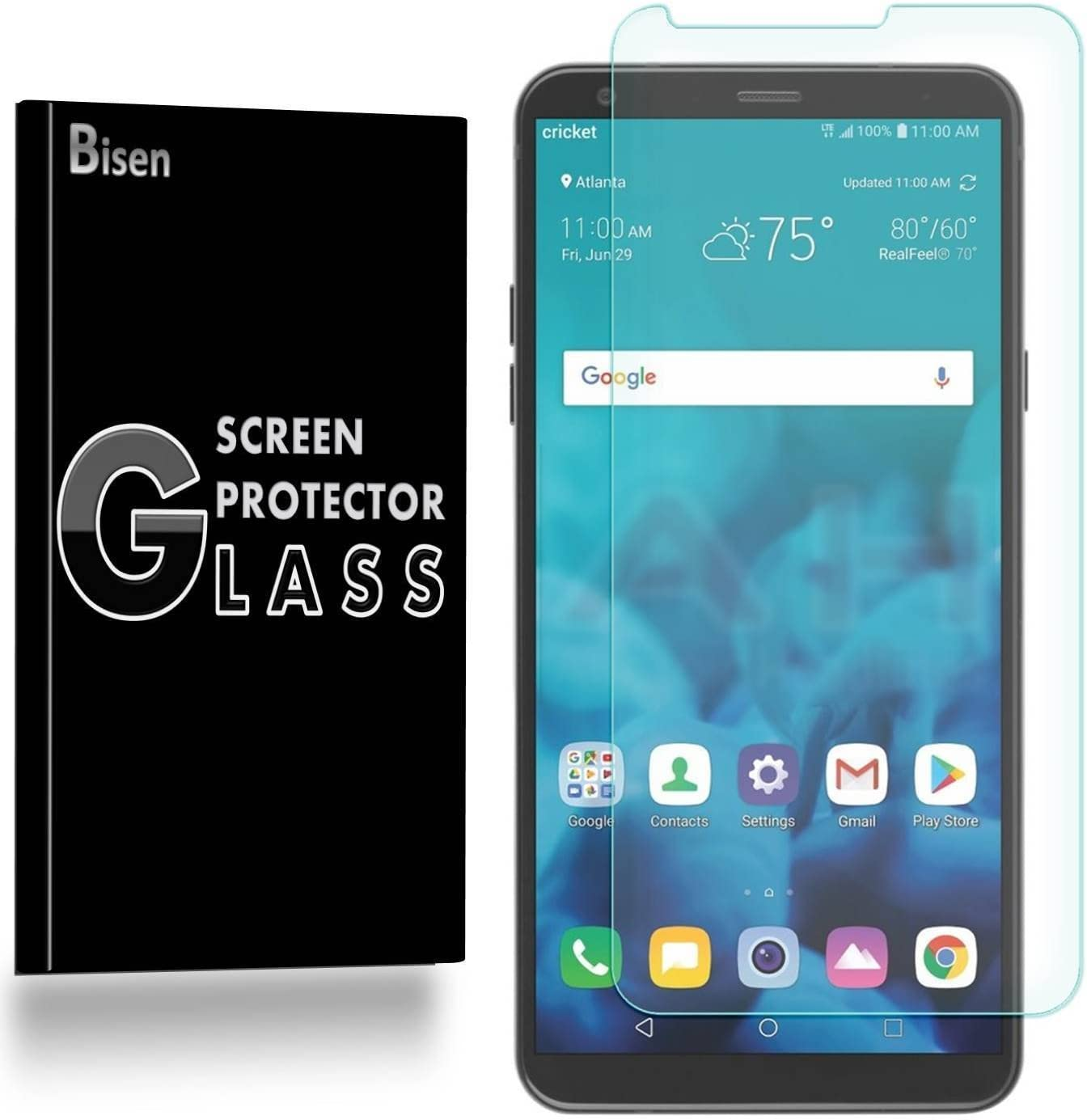 [3-PACK BISEN] LG Stylo 4 Screen Protector Tempered Glass, Anti-Scratch, Anti-Fingerprint, Anti-Bubble, Lifetime Protection