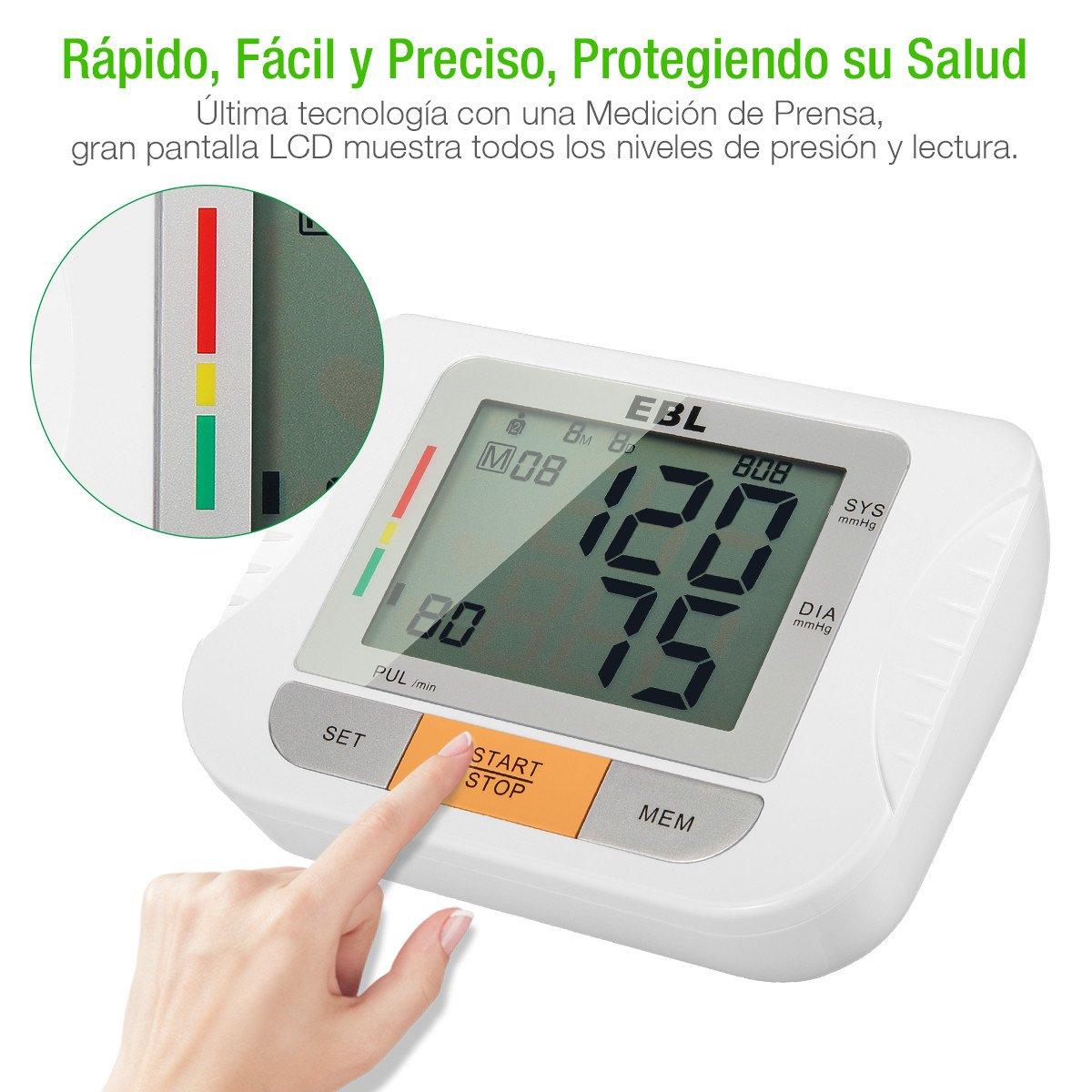 EBL Tensiómetro de Brazo Digital, LCD Pantalla para Lectura Fácil Función de Memoria Uso Doméstico Fino con CE & RoHS ,2 Personas Memoria para 90 Lecturas, ...