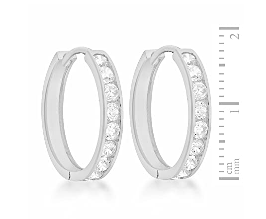 Tuscany Silver Women's Sterling Silver Channel Set Cubic Zirconia 22 mm Creole Earrings 8.58.3519
