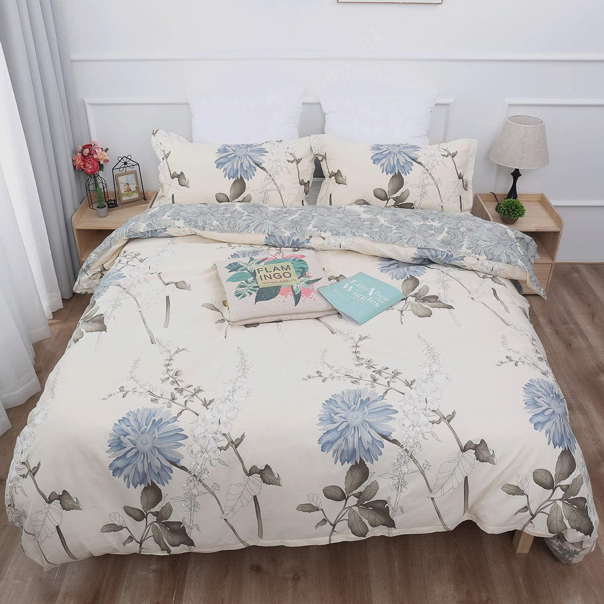 Goodidea Vintage Floral Comforter Set Queen 3 Pieces, Botanical Floral Print Bedding Set, Soft Breathable Comforter for All Season