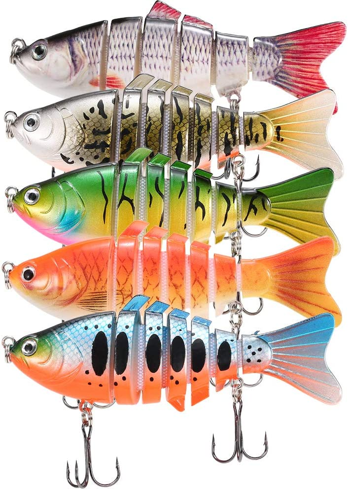 5pcs//lot Fishing Plastic Hard Bait Multi-section Swimbait Crankbait Treble Hook