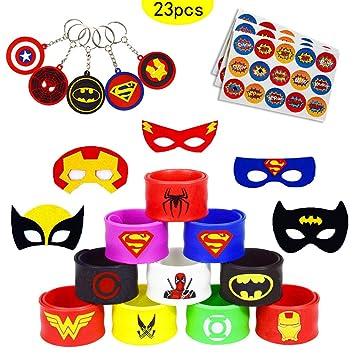 caicainiu 23 Superhero Slap Band Pulseras y máscaras de superhéroes, Llaveros de superhéroes Bolsas para niños Niños Rellenos Niños