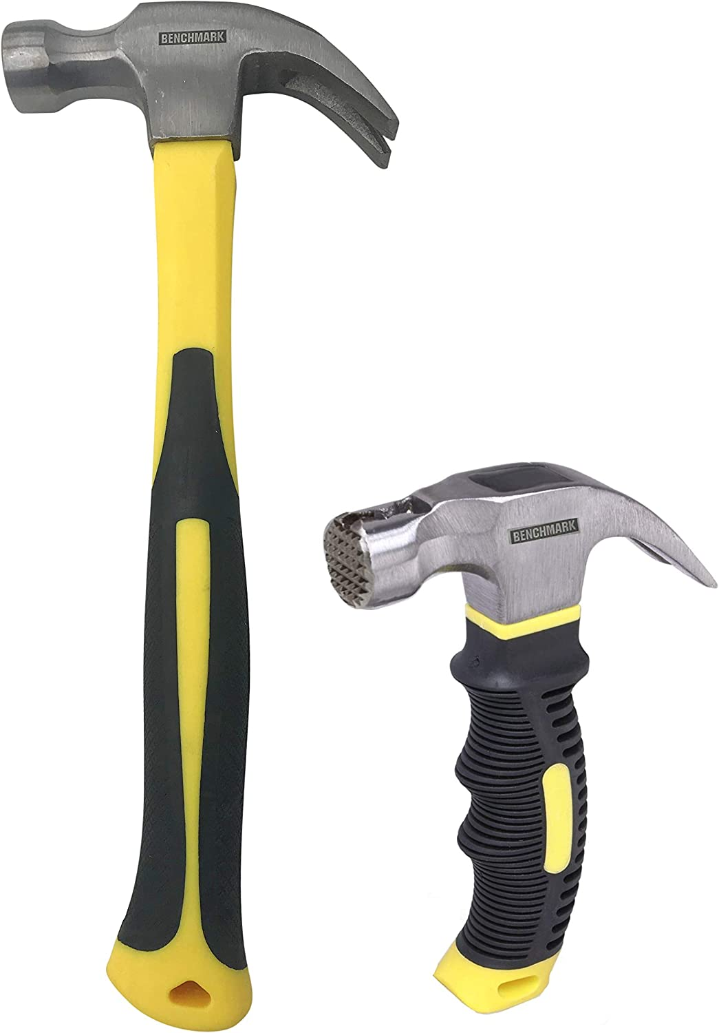 Benchmark - 2 Piece Hammer Set; 16 OZ Claw Hammer & 8 OZ. Mini Claw Hammer with Magnetic Head; Shock Absorbing Rubber Grips, Durable Fiberglass Handles And Polished Steel Heads