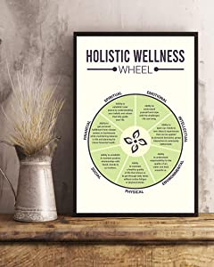 Social Worker Holistic Wellness Wheel - Motivational Poster - Wall Art & Wall Decor & Painting for College Dorm – Office Decor - Makeup Room Decor - Dorm Room Poster