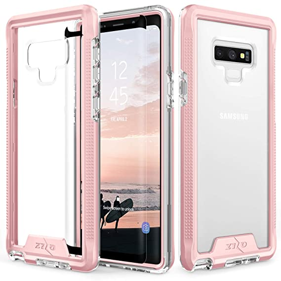 brand new c56db dc10c Zizo ION Series Compatible with Samsung Galaxy Note 9 Case Military Grade  Drop Tested with Tempered Glass Screen Protector Rose Gold Clear