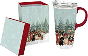 Cypress Home Beautiful Royal Pups Holiday Ceramic Travel Cup with Tritan Lid and Matching Box - 4 x 5 x 7 Inches Indoor/Outdoor home goods For Kitchens, Parties and Homes