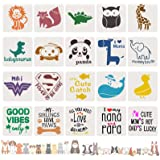20 Pack Large Size Stencils for Baby Shower,Mixed Animals Pattern Painting Stencils Onesie Decorating Reusable Templates for