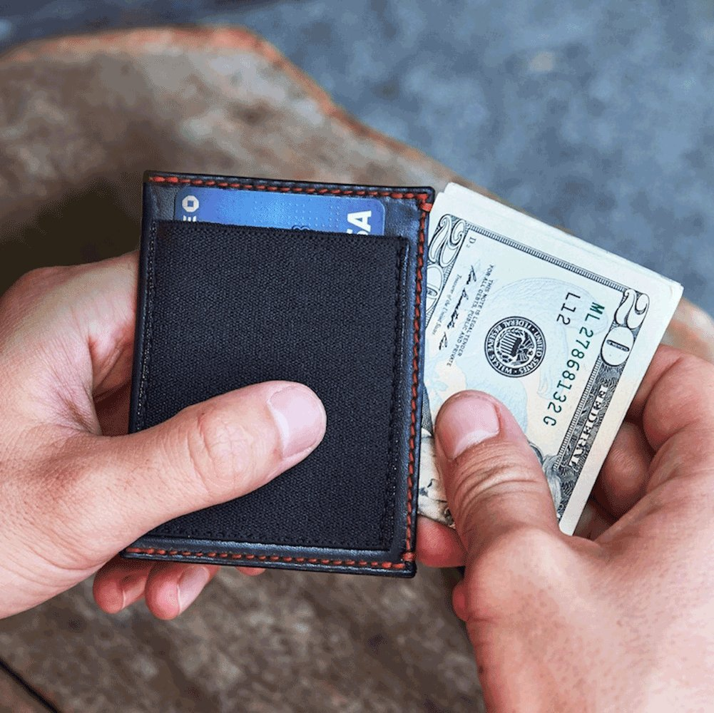 Blue Leather Blue Stitch slimJIMMY Slim Wallet with Expanding Card Holder