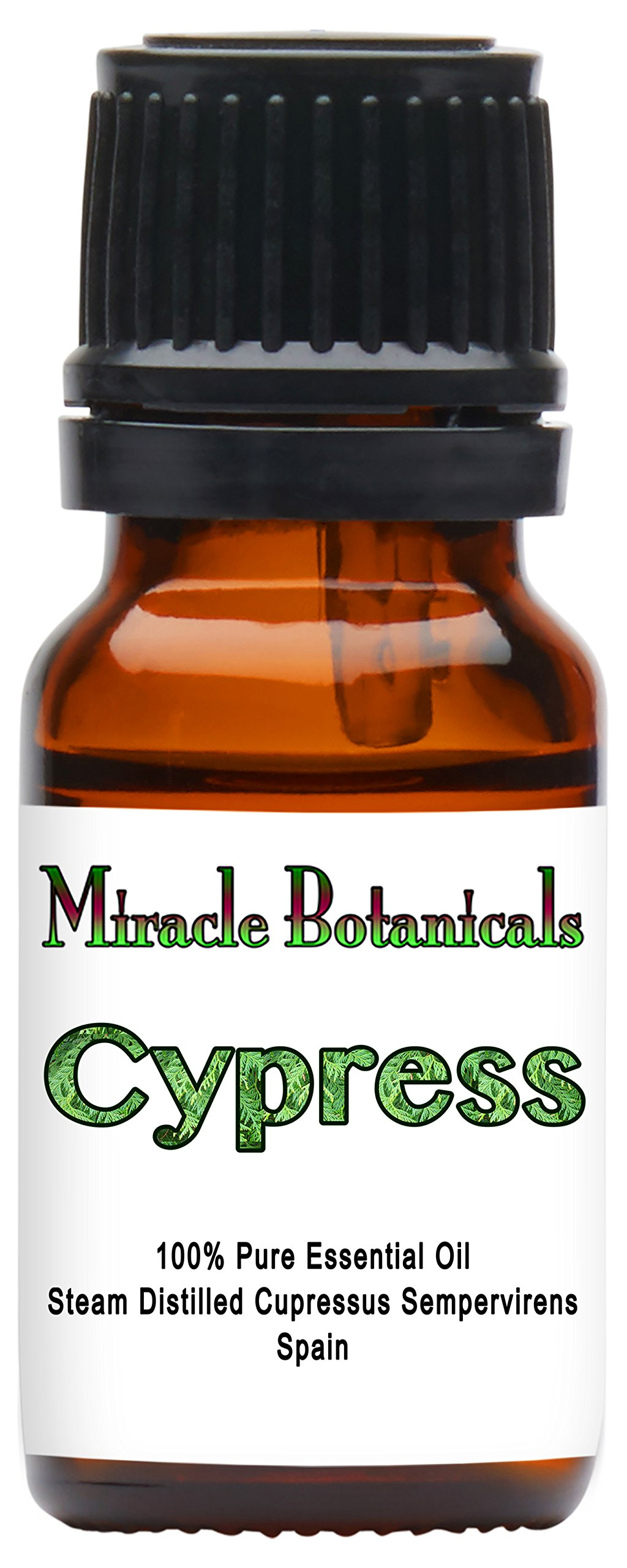 Miracle Botanicals Wildcrafted Cypress Essential Oil - 100% Pure Cupressus Sempervirens - 10ml or 30ml Sizes - Therapeutic Grade - 10ml