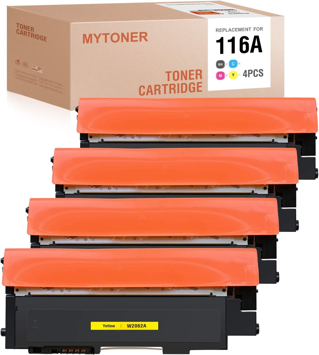 MYTONER Compatible Toner Cartridge Replacement for HP 116A 116 W2060A W2061A W2063A W2062A for Color Laser MFP 178nw MFP 179fnw Color Laser 150nw (1Black,1 Cyan,1 Magenta,1 Yellow,4-Pack)