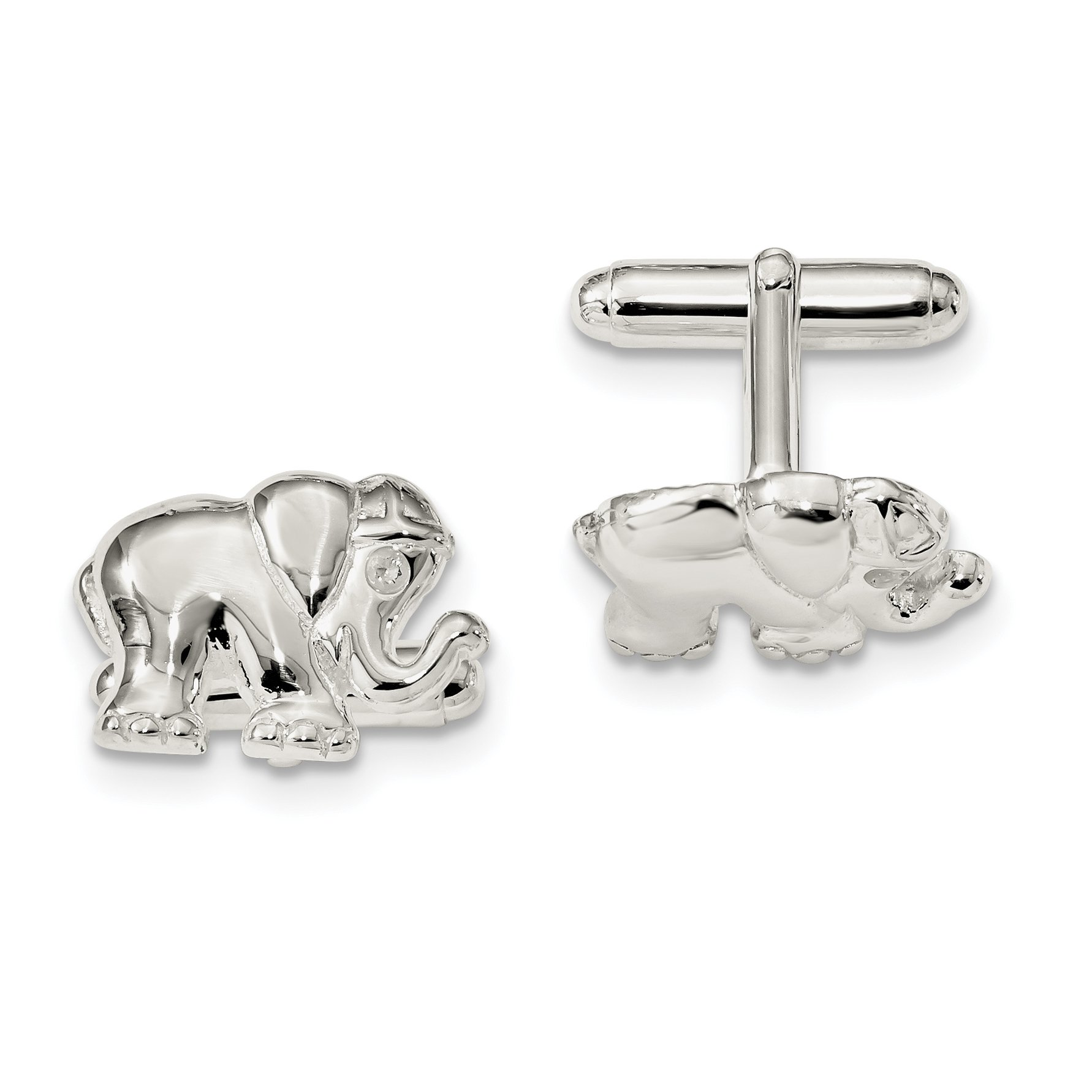 ICE CARATS 925 Sterling Silver Cubic Zirconia Cz Elephant Cuff Links Mens Cufflinks Link Fine Jewelry Dad Mens Gift