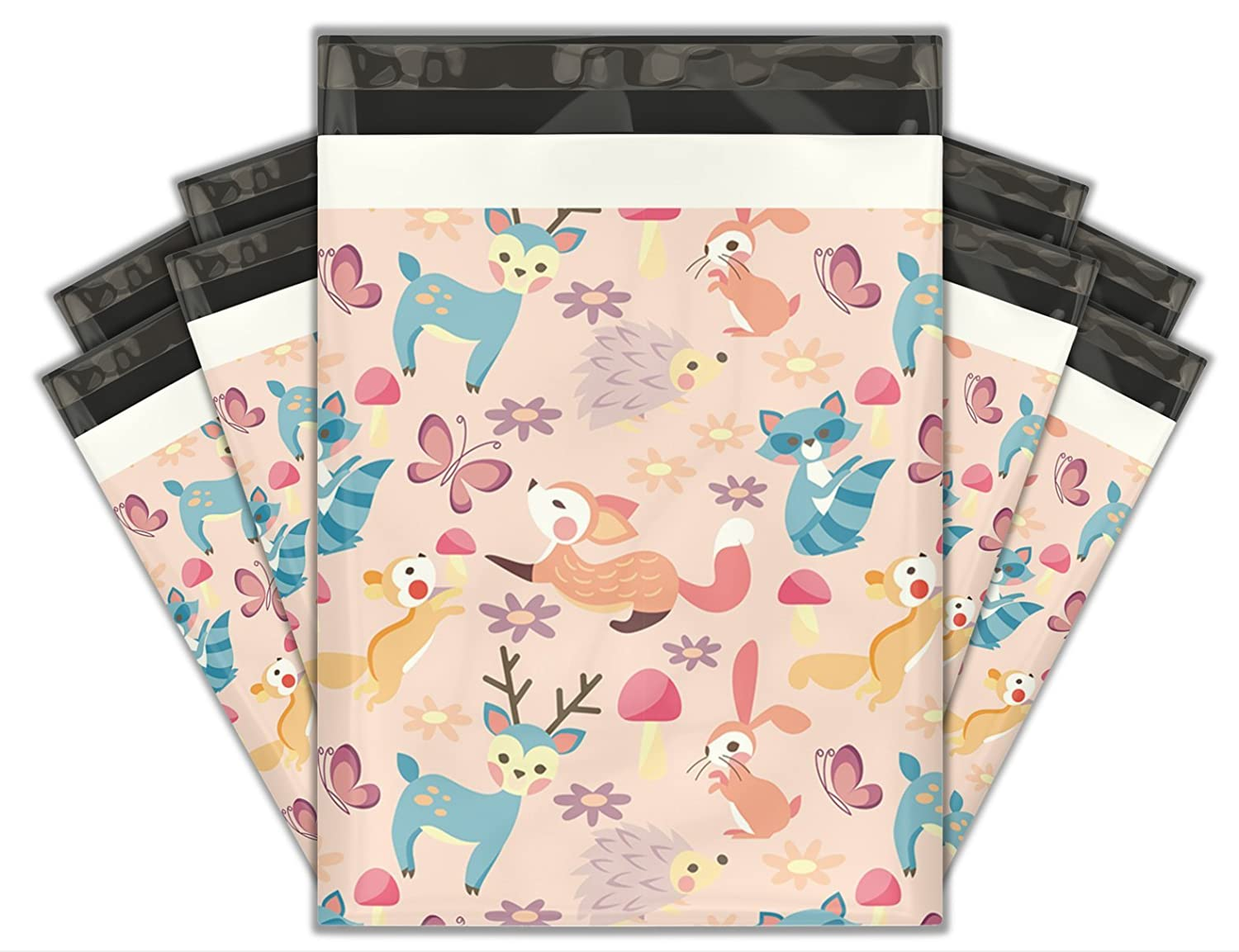 10x13 (100) Woodland Critters Designer Poly Mailers Shipping Envelopes Premium Printed Bags Pro Supply Global