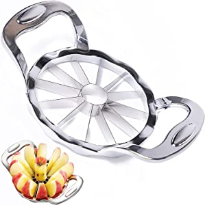 Newness Apple Slicer, 12-Slice Apple Slicer and Corer, [UPGRADED &REINFORCED] Ultra Sharp Stainless Steel Core Remover ,Apple Cutter, Pitter, Thoroughly-Cut Blade Design,For Large Fruit