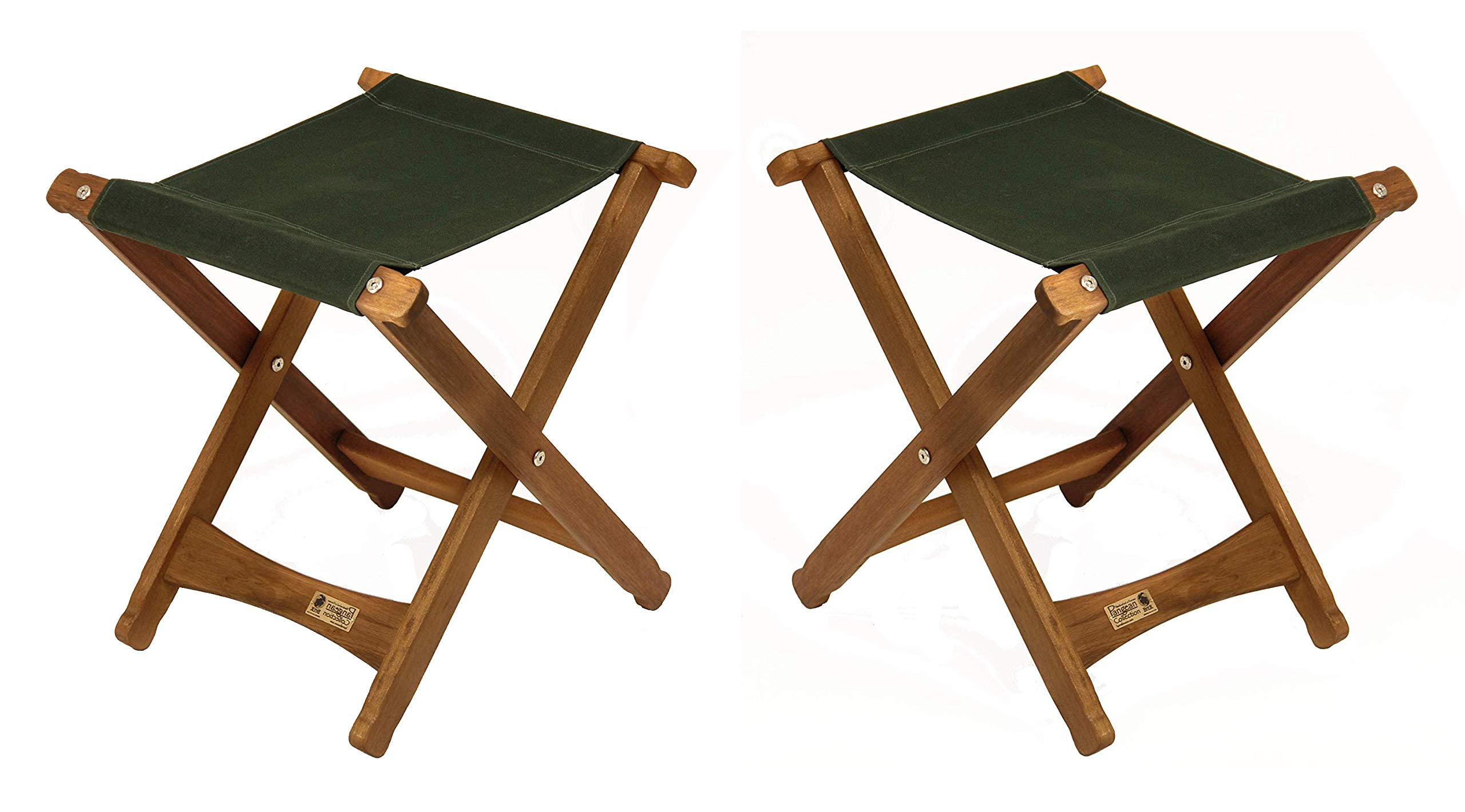BYER OF MAINE, Pangean, Folding Stool, Hardwood, Easy to Fold and Carry, Wood Folding Stool, Canvas Camp Stool, Perfect for Camping, Matches All Furniture in The Pangean Line, Green, Two Pack by BYER OF MAINE