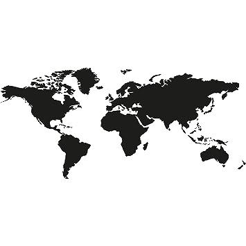 Wandtattoo Weltkarte Farbe Schwarz Grosse 125cm X 58cm