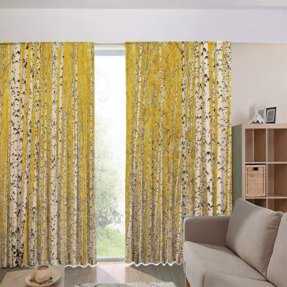 iPrint Modern Blackout Curtains for Window Treatment Blinds Finished Drapes Europe Window Curtains,Forest Golden Leaves Seasonal Scenics Picture 84Wx63L Inch