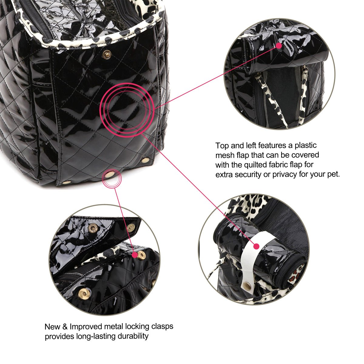 Dog Carrier Purse Pet Travel Bag Cat Portable Handbag,Soft Sided Tote with 2 Fleece Pads for Small Pets,Come with a Pet Comb,Up to 15lbs,Easy to Storage,Go Hiking Shopping with Your Doggy (black) by ZOOSTAR (Image #7)