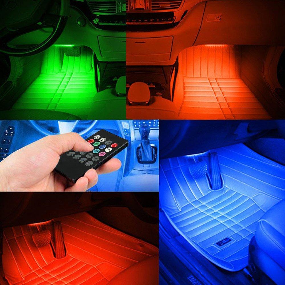 KKmoon L/ámpara Barra 36 LED Luz Decorativa Atm/ósfera Interior 7 Color RGB Control de Voz M/úsica para Coche Auto con Mando a Distancia Inal/ámbrico