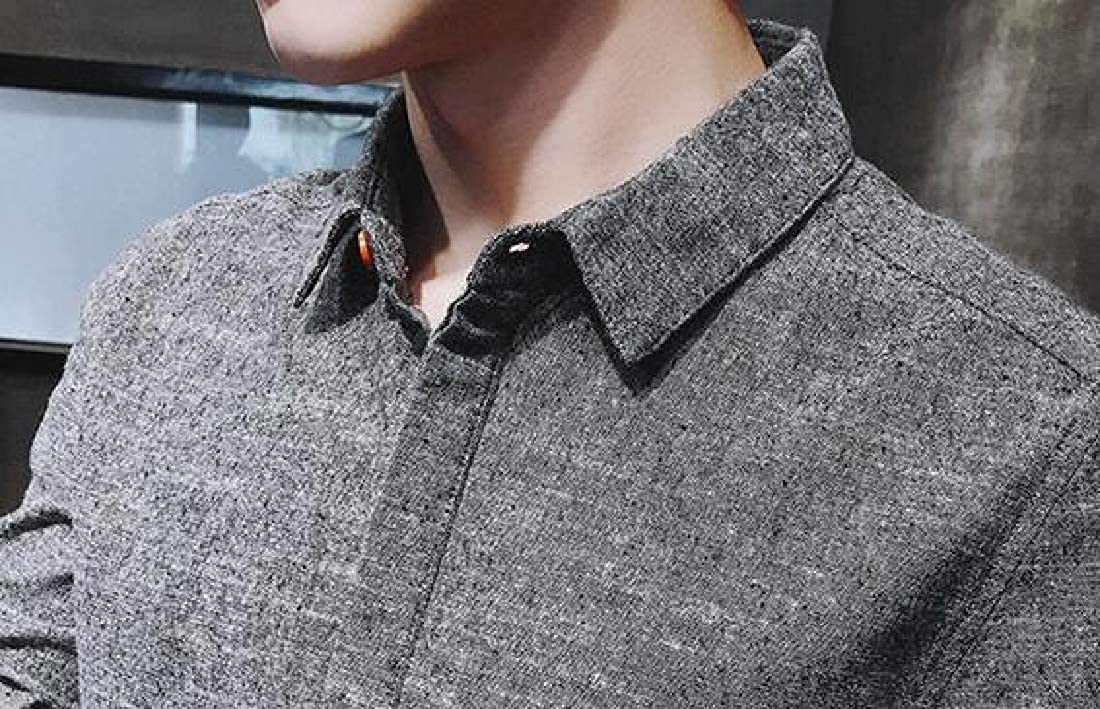 Domple Men Long Sleeve Leisure Popular Solid Color Button Down Dress Work Shirt