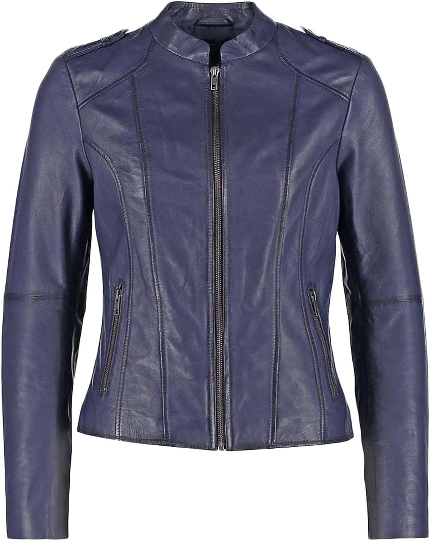 New Women Genuine Real Leather Jacket Ladies Slim Fit Biker Coat LFWN671