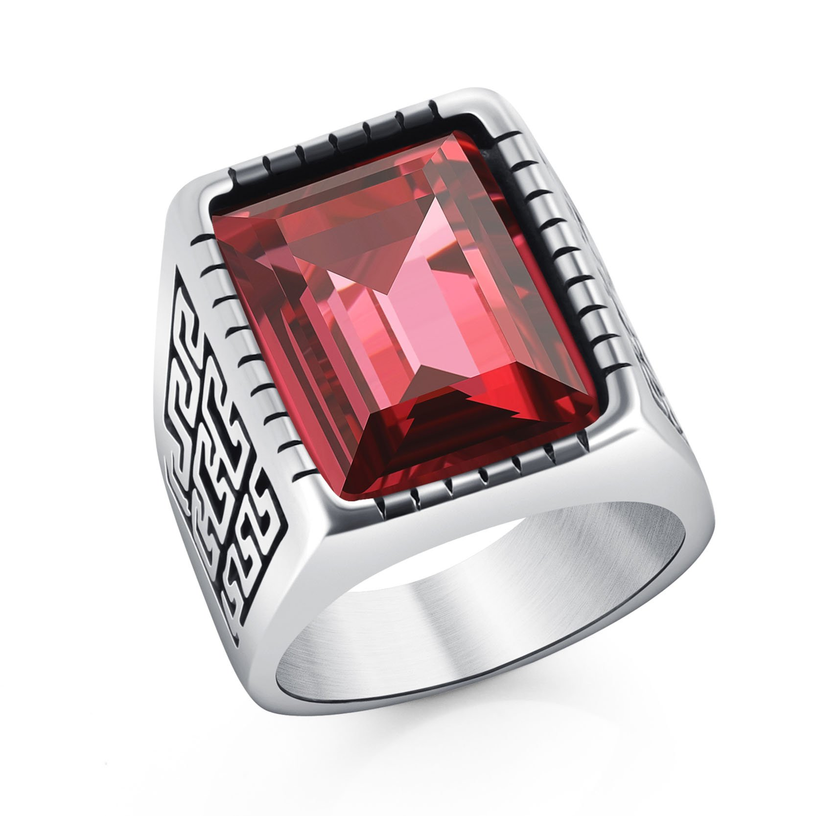 Cool Great Wall Pattern Ring Stainless Steel Biker Rings for Men Boys Accessories Red Crystal Size 11