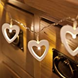 Wooden Shapes - Heart String Lights - Battery Powered - Timer - 10 Warm White LEDs by Festive Lights